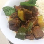 Slow cooked beef with tomato and lemon grass