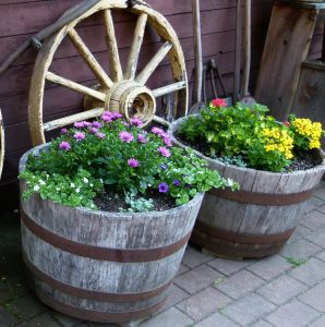 Container Gardening old vats